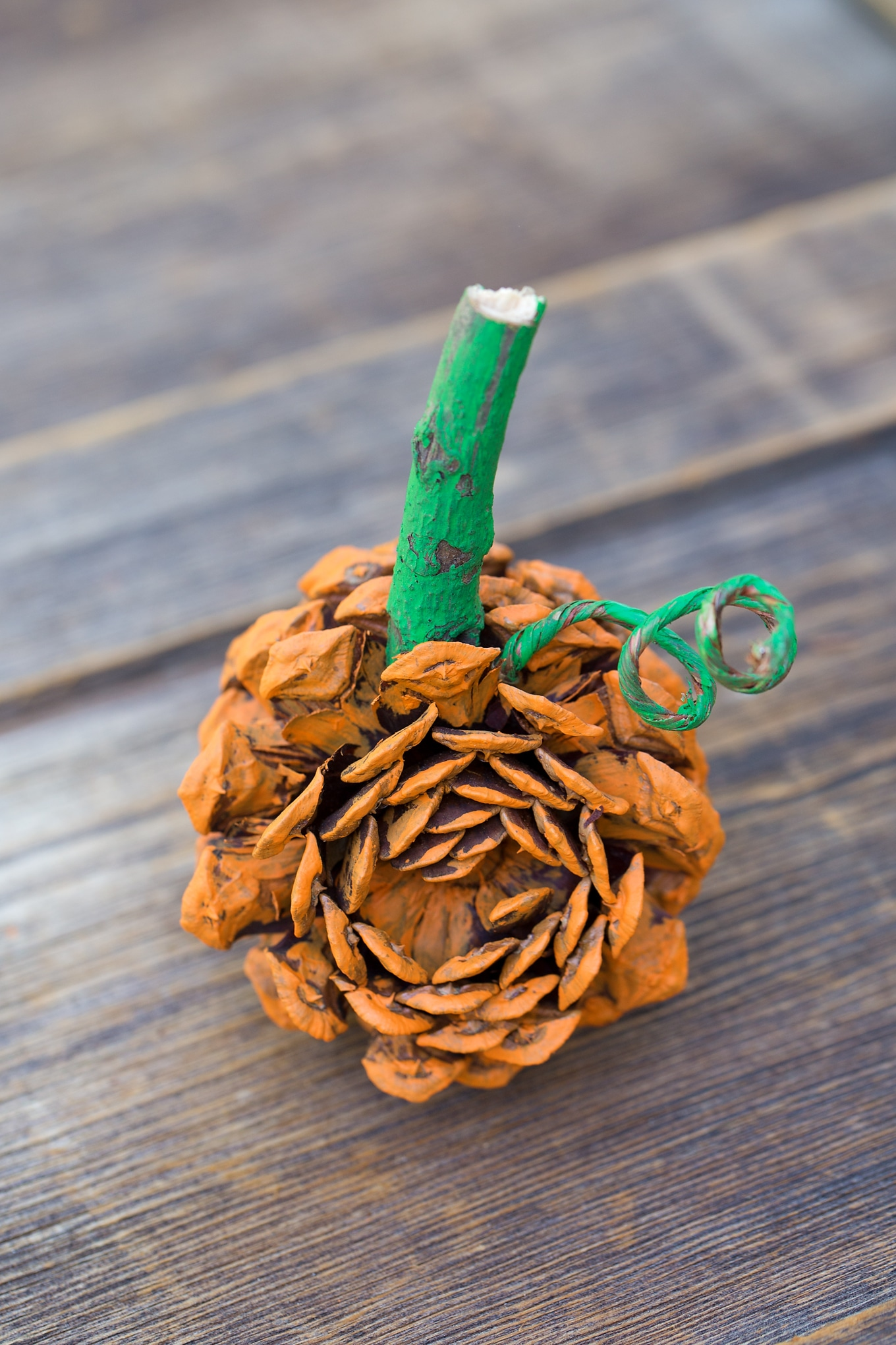 easy pine cone pumpkin craft for kids