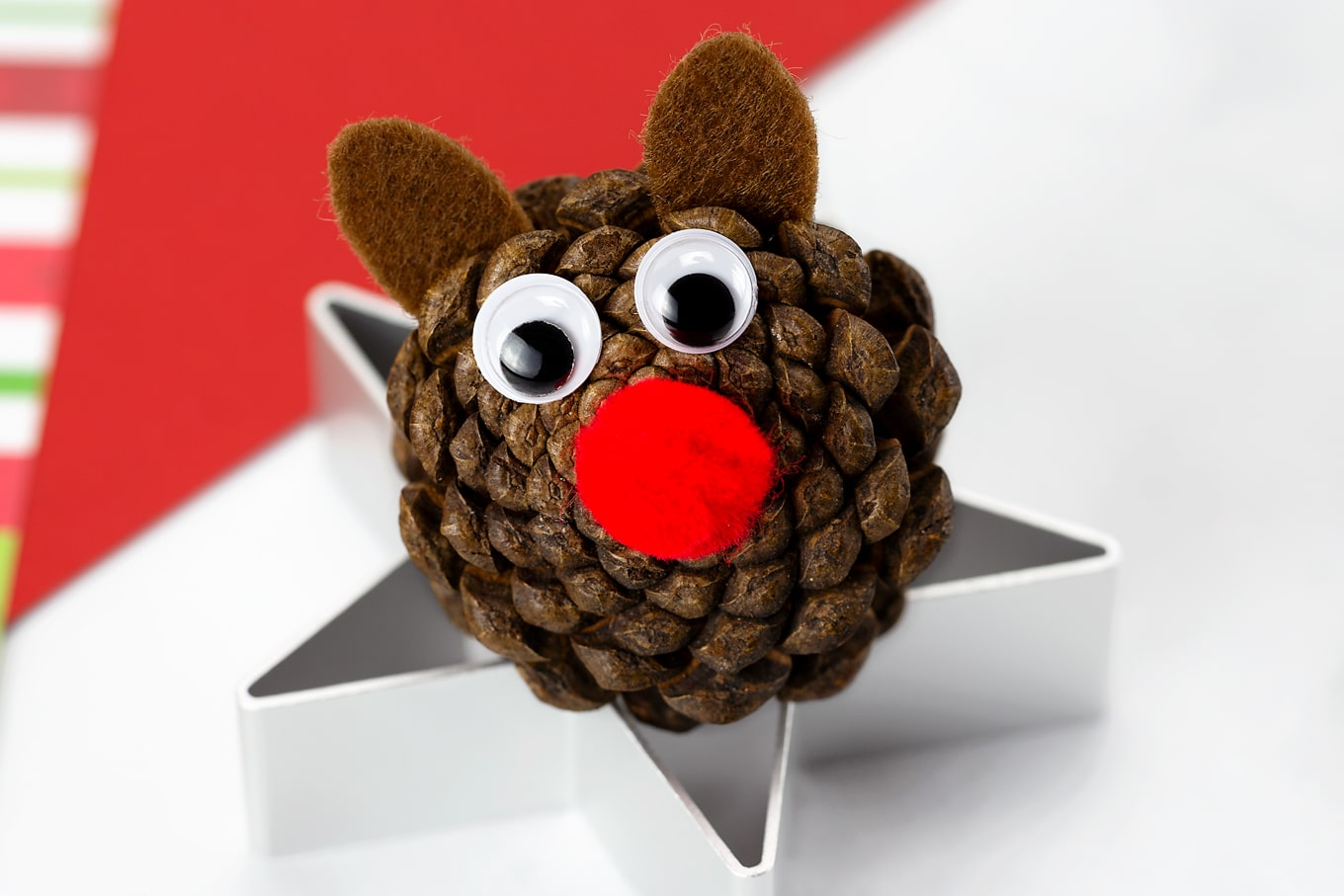 Pine Cone Reindeer In-Process