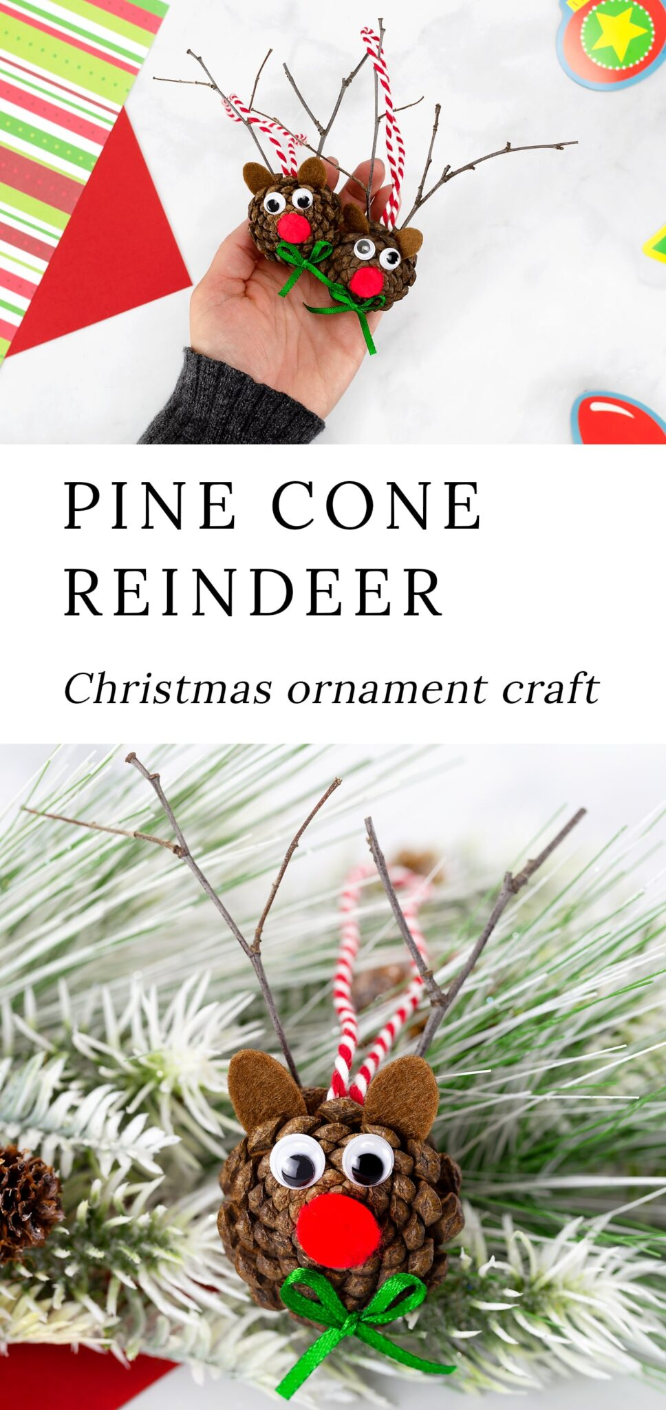 Pine Cone Reindeer ornaments are an easy and fun holiday nature craft for kids of all ages. Perfect for home, the classroom, and community programs! #pineconereindeer #christmas #naturecrafts #kidscrafts via @firefliesandmudpies