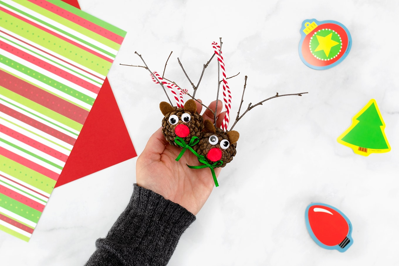 Adorable Pine Cone Reindeer Ornaments