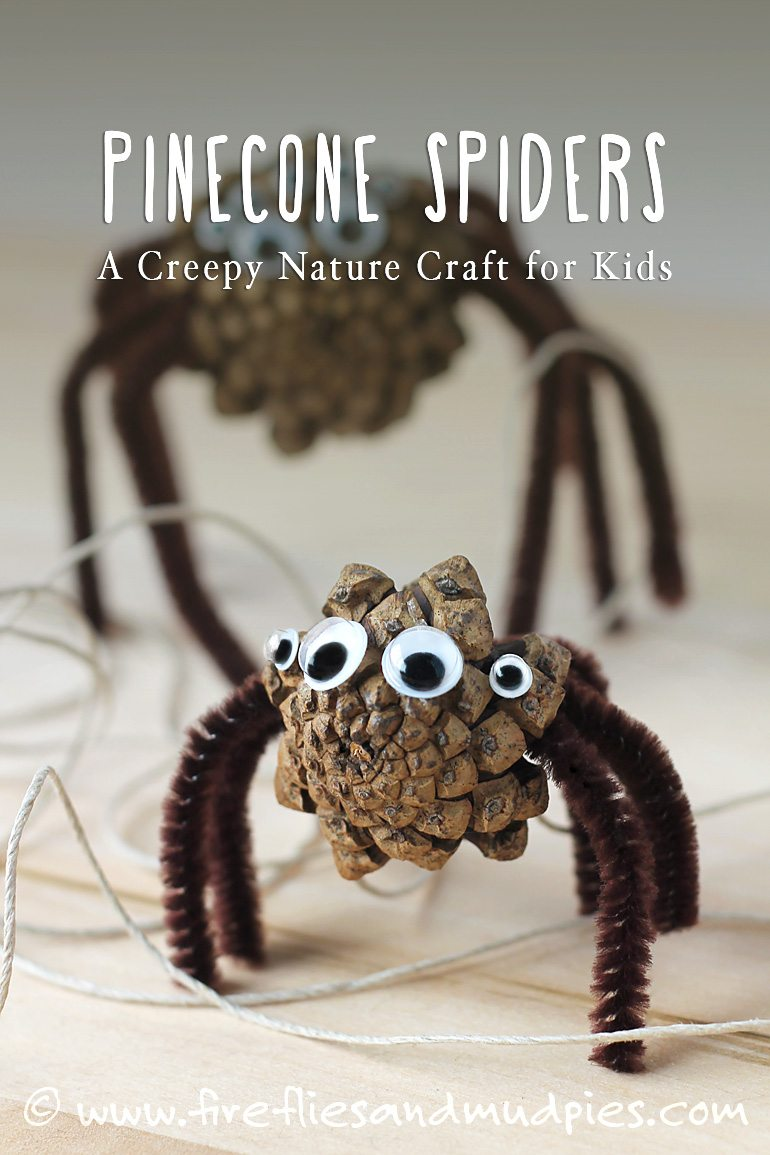 Pine Cone Spiders: A Creepy-Cute Nature Craft for Kids! A great Halloween craft for kids! | Fireflies and Mud Pies