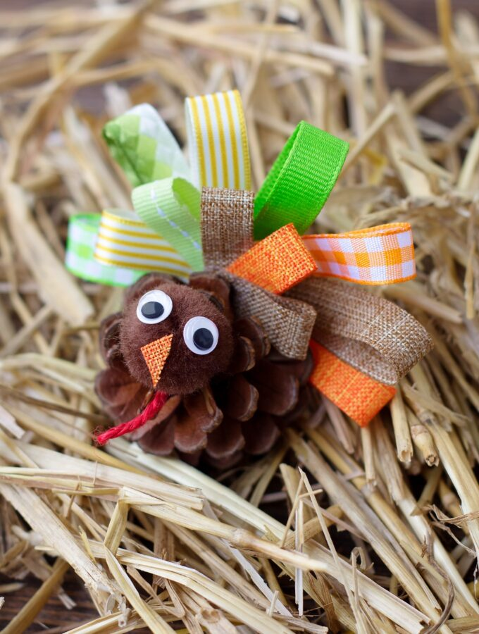 How to Make Scrap Ribbon Pine Cone Turkeys