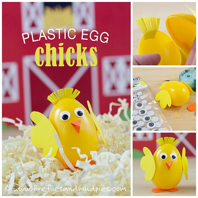 How to make plastic eggs chicks! So cute for kids!