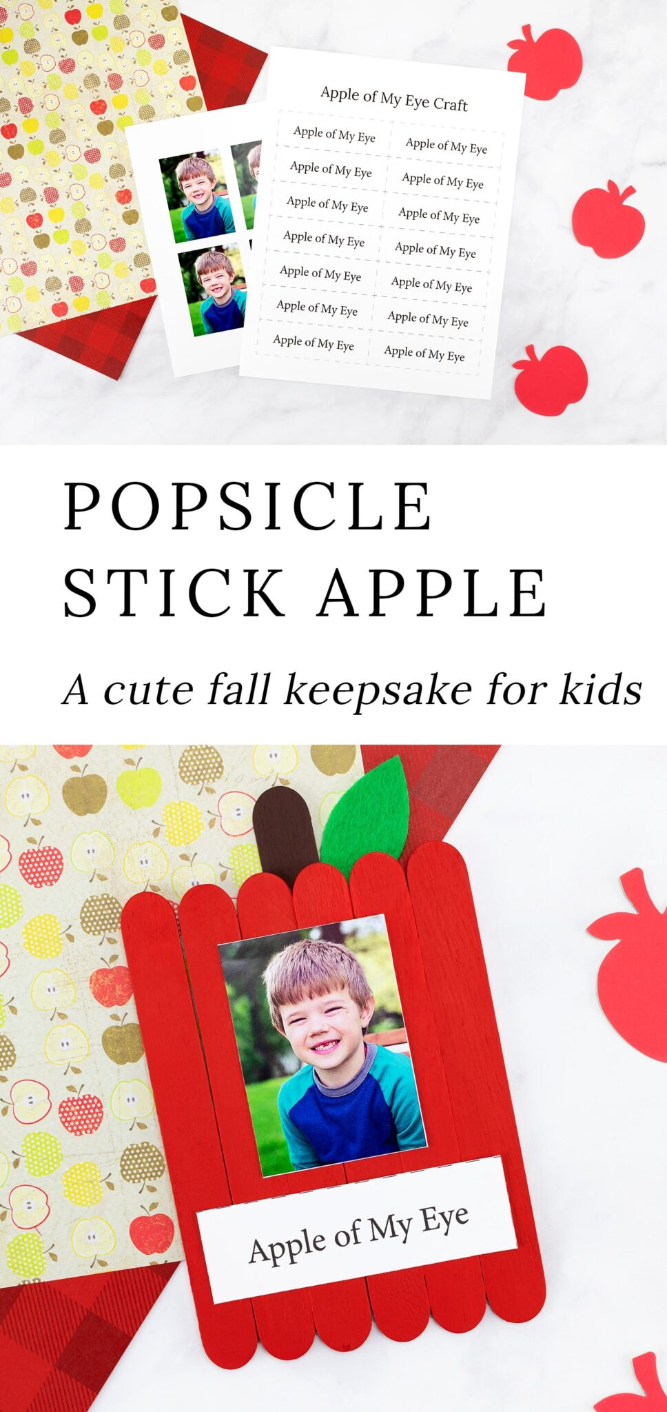Popsicle Stick Apple Craft for Kids