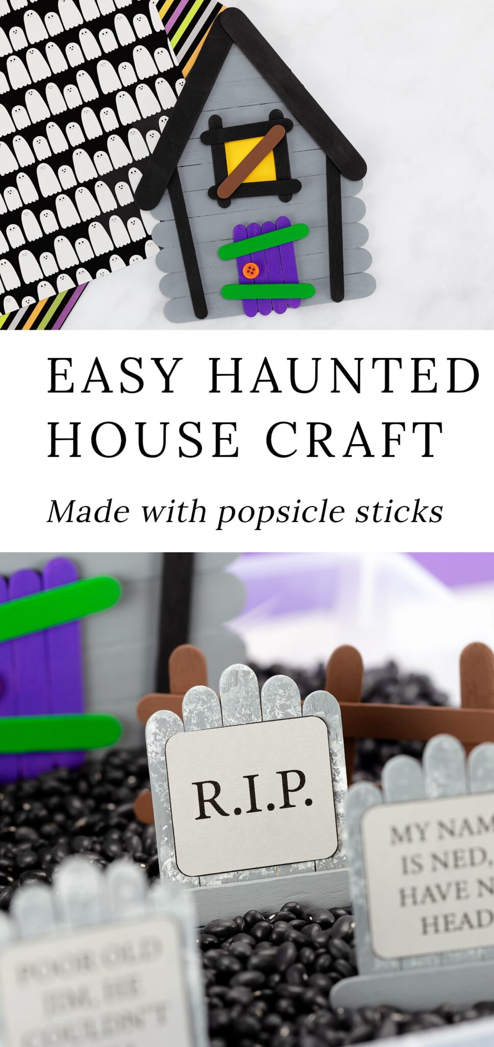 This post includes 3 innovative popsicle stick craft templates that will guide you through the process of making a spooky popsicle stick haunted house complete with popsicle stick tombstones and fences. They are perfect for imaginative play! #popsiclestick #hauntedhouse #halloween #kids via @firefliesandmudpies