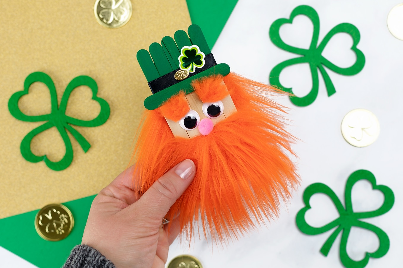 Handmade Popsicle Stick Leprechaun Craft