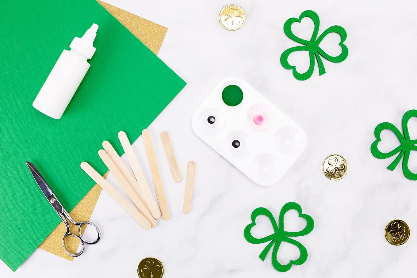 Craft Supplies Needed for Popsicle Stick Leprechaun