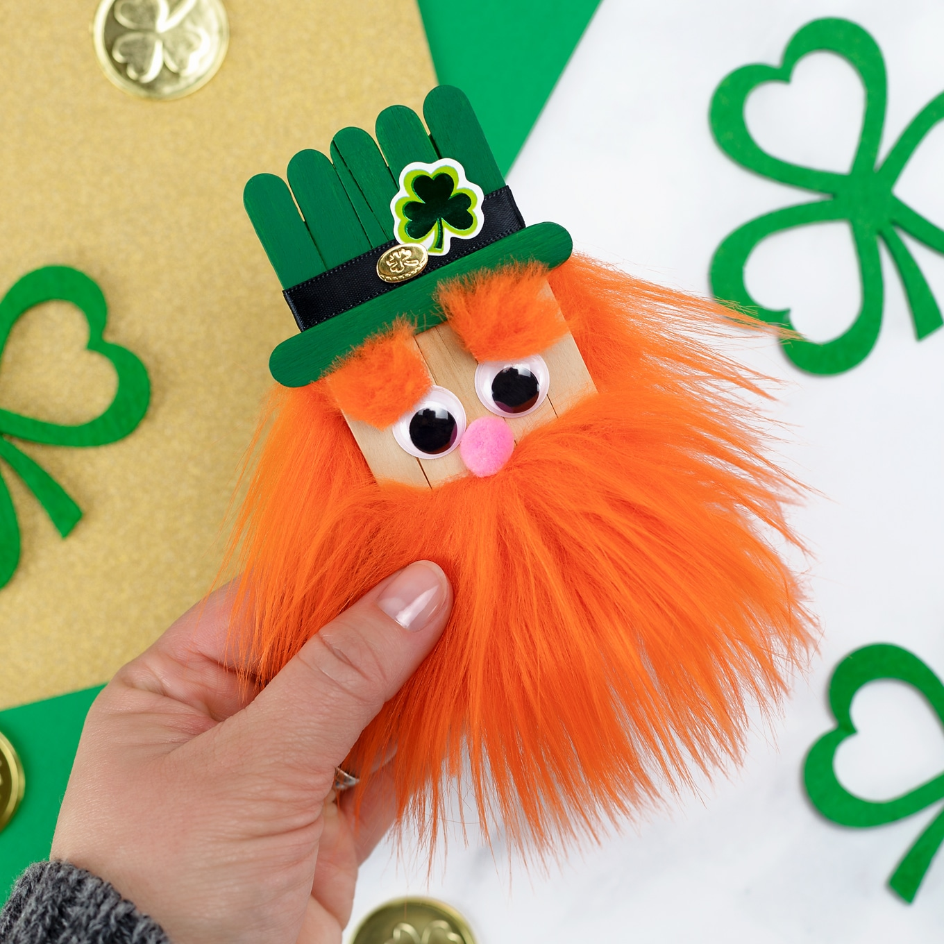 DIY Popsicle Stick Leprechaun Craft