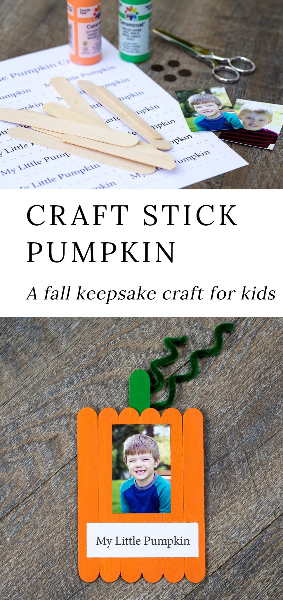 Just in time for fall, learn how to make an adorable Popsicle stick pumpkin keepsake with craft sticks, paint, and glue.  via @firefliesandmudpies