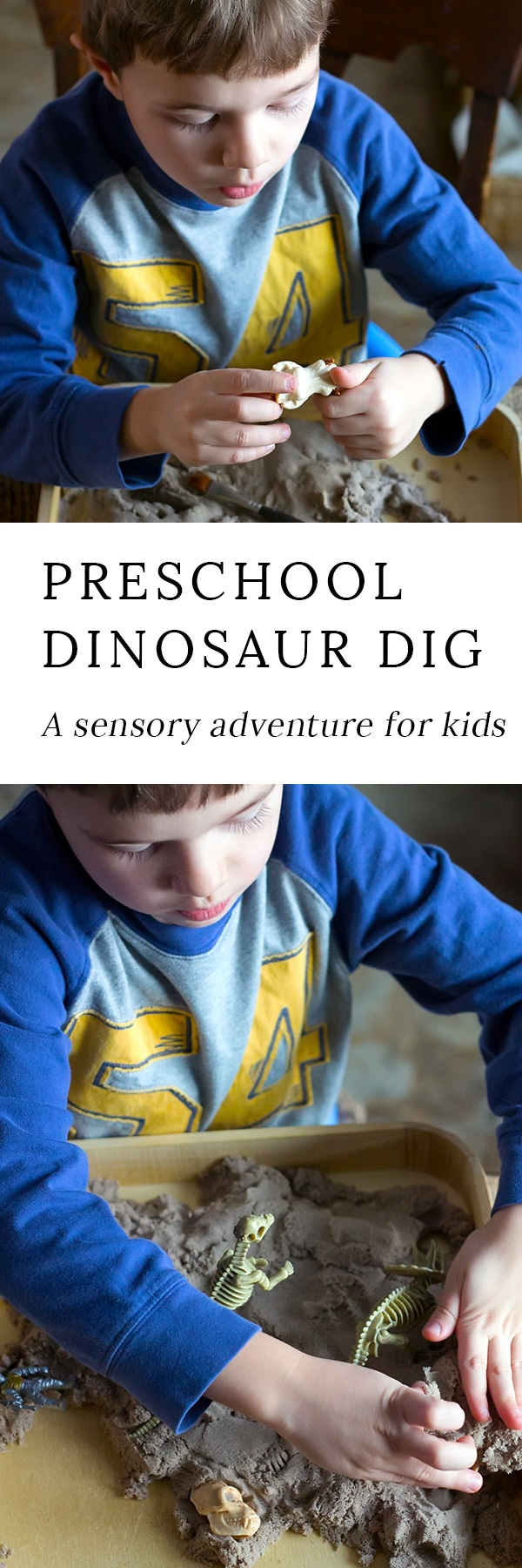 Learn how to set up a simple Dinosaur Dig sensory bin for your preschooler. So easy, but kids love it! It's the perfect sensory play activity for home or school.