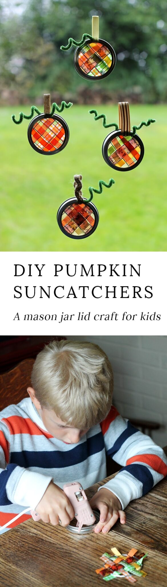 Just in time for fall, learn how to make vibrant pumpkin suncatchers with scraps of woven ribbon and mason jar lids.This weaving craft is perfect for kids!