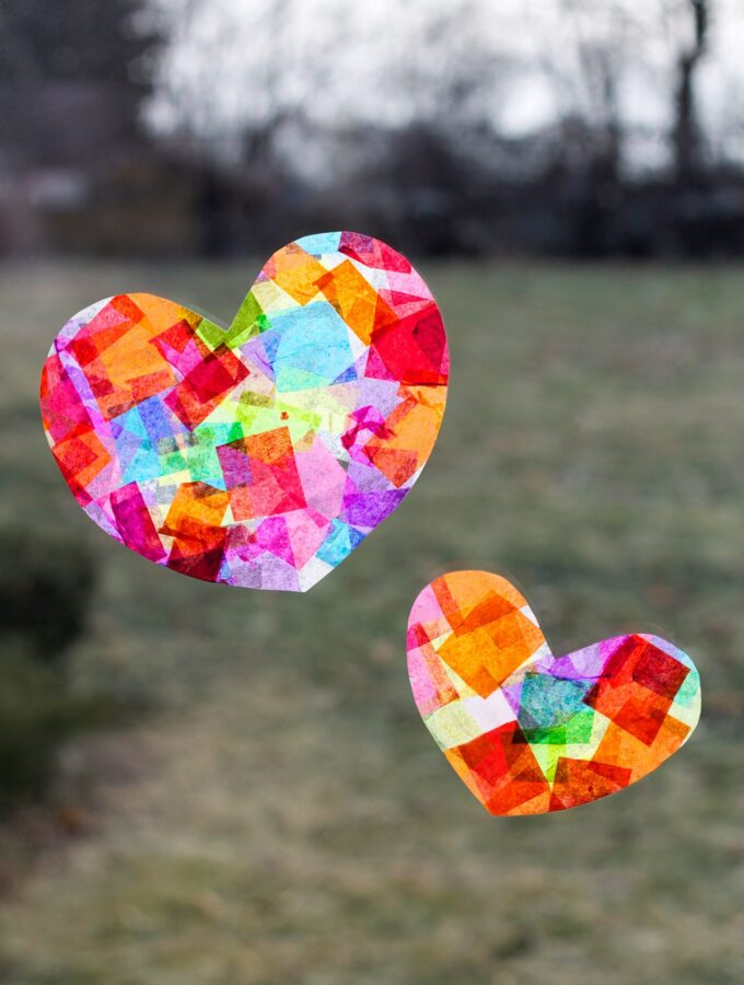 How to Make Rainbow Heart Suncatchers