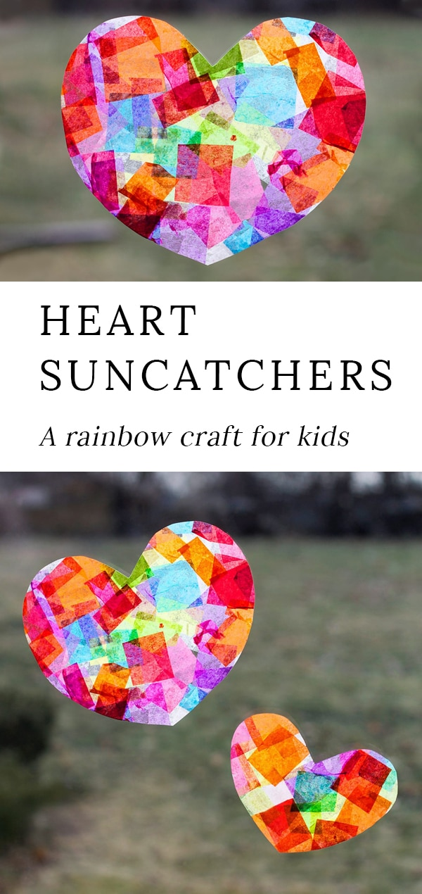 Crafters of all ages will enjoy learning how to make gorgeous Rainbow Heart Suncatchers with tissue paper and glue, perfect for Valentine's Day! #heart #suncatchers via @firefliesandmudpies