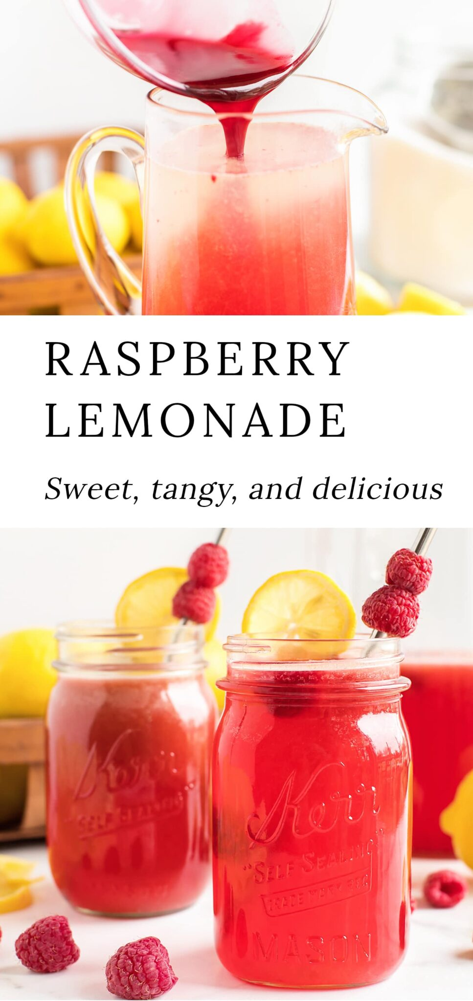Our easy homemade Raspberry Lemonade recipe uses frozen raspberries and fresh lemons, making it a sweet and tangy drink perfect for any time of the year! #raspberrylemonade #lemonade via @firefliesandmudpies
