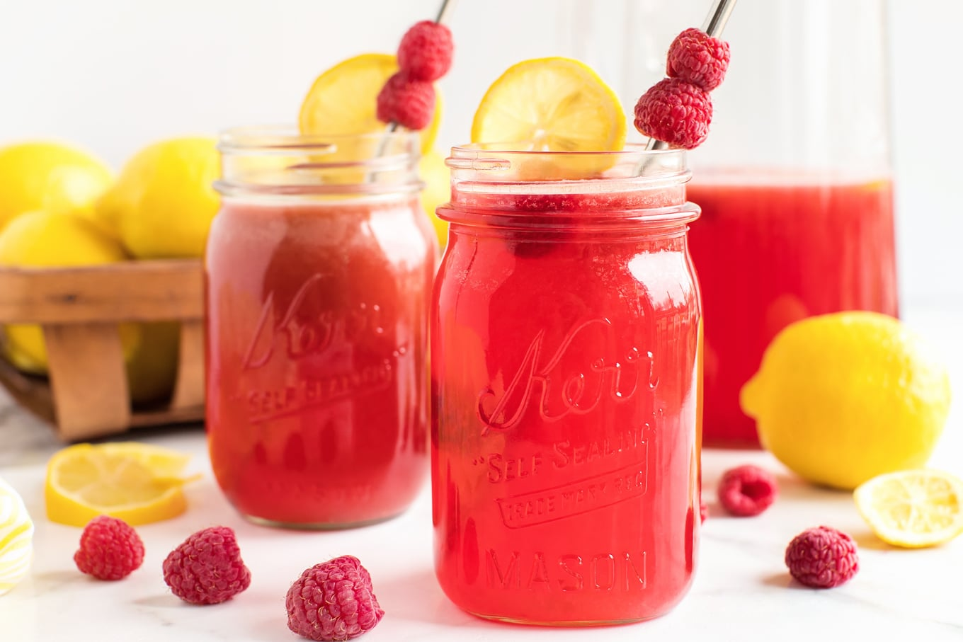 Fresh Homemade Raspberry Lemonade in Mason Jars