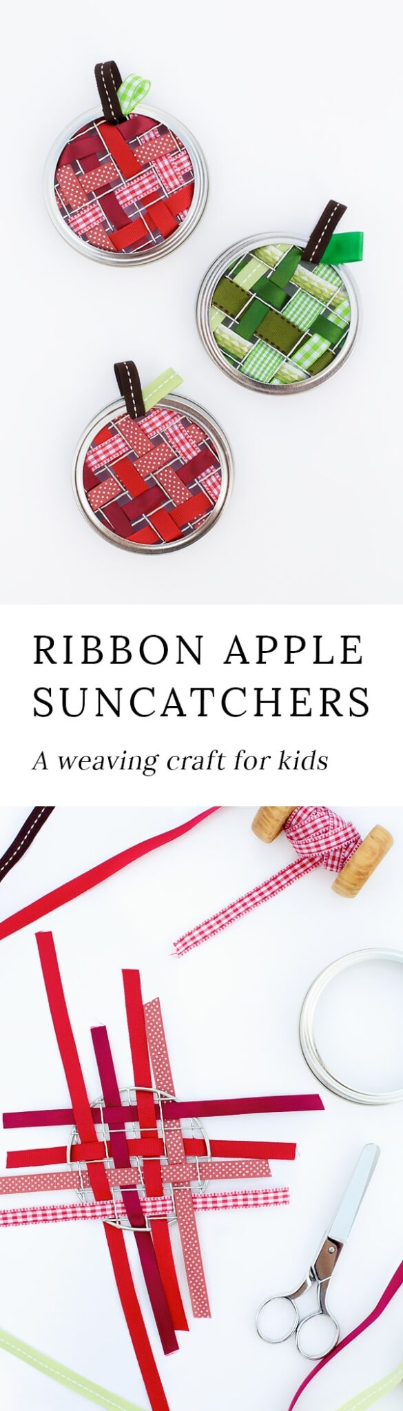 Kids of all ages will love weaving beautiful ribbon apple suncatchers with ribbon, mason jar lids, and mason jar frogs. It's the perfect fall craft for kids.