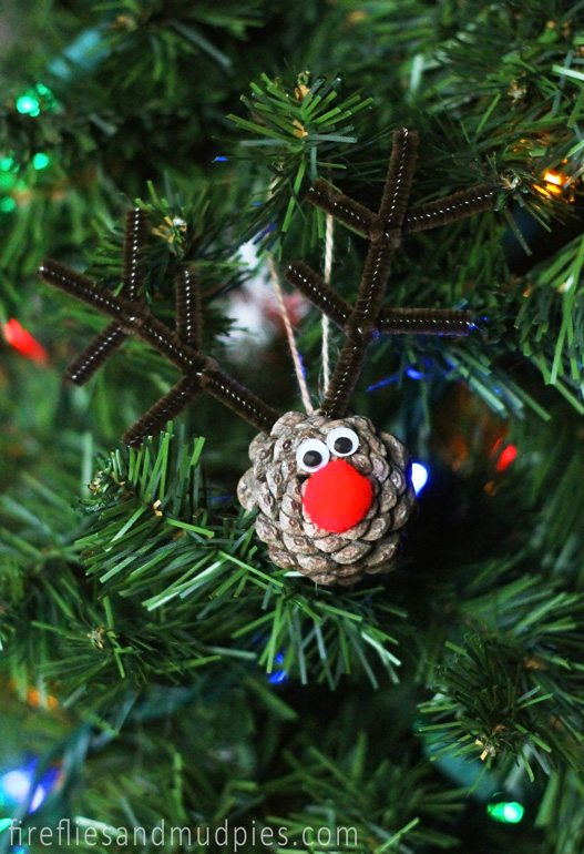 rudolph the red nosed reindeer ornament - How To Decorate Pine Cones For Christmas Ornaments