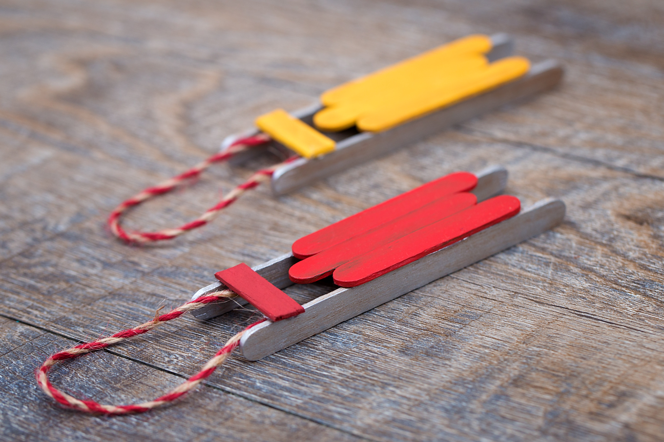Red and Yellow Popsicle Stick Sled Ornaments