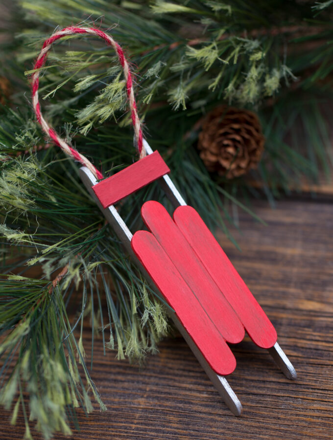 Rustic Wooden Sled Ornament