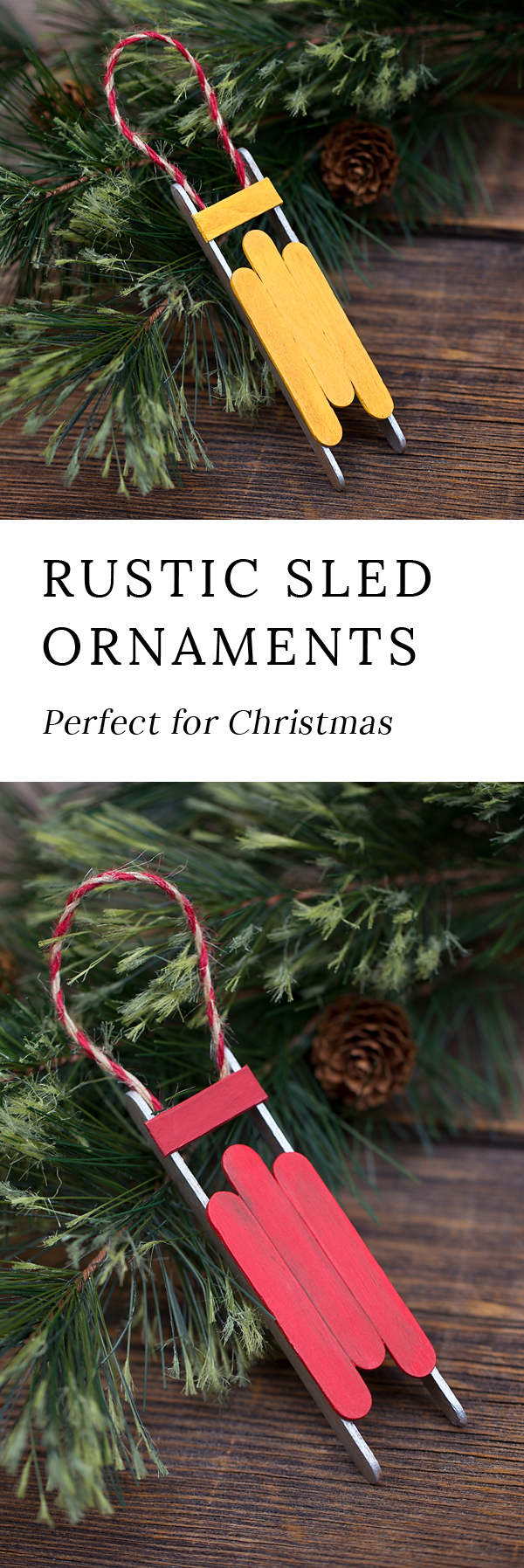 Just in time for Christmas, learn how to make a Rustic Wooden Sled Ornament with craft sticks, glue, and paint. This easy holiday craft is perfect for home or school!