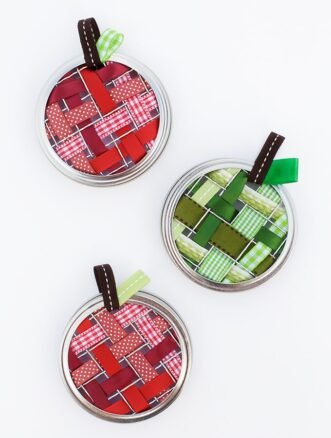 Scrap Ribbon Apple Suncatchers