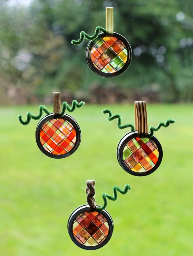 Scrap Ribbon Pumpkin Suncatchers