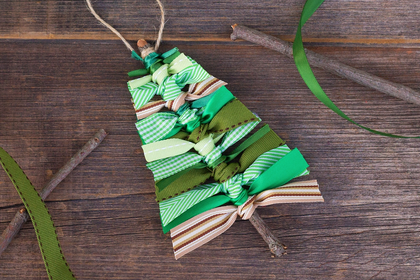 Finished Scrap Ribbon Christmas Tree Ornament