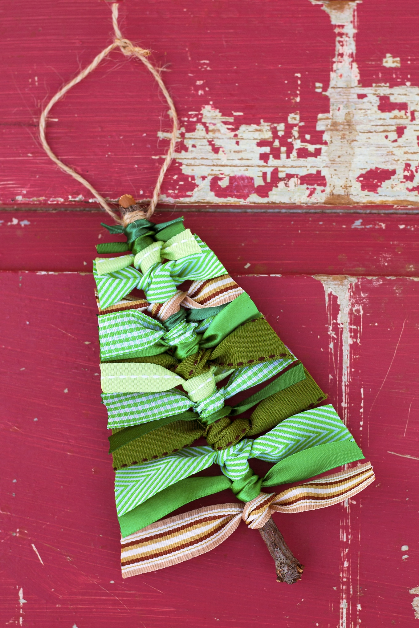 Use Sticks and Scraps of Green Ribbon to Make this Rustic Scrap Ribbon Christmas Tree Ornament