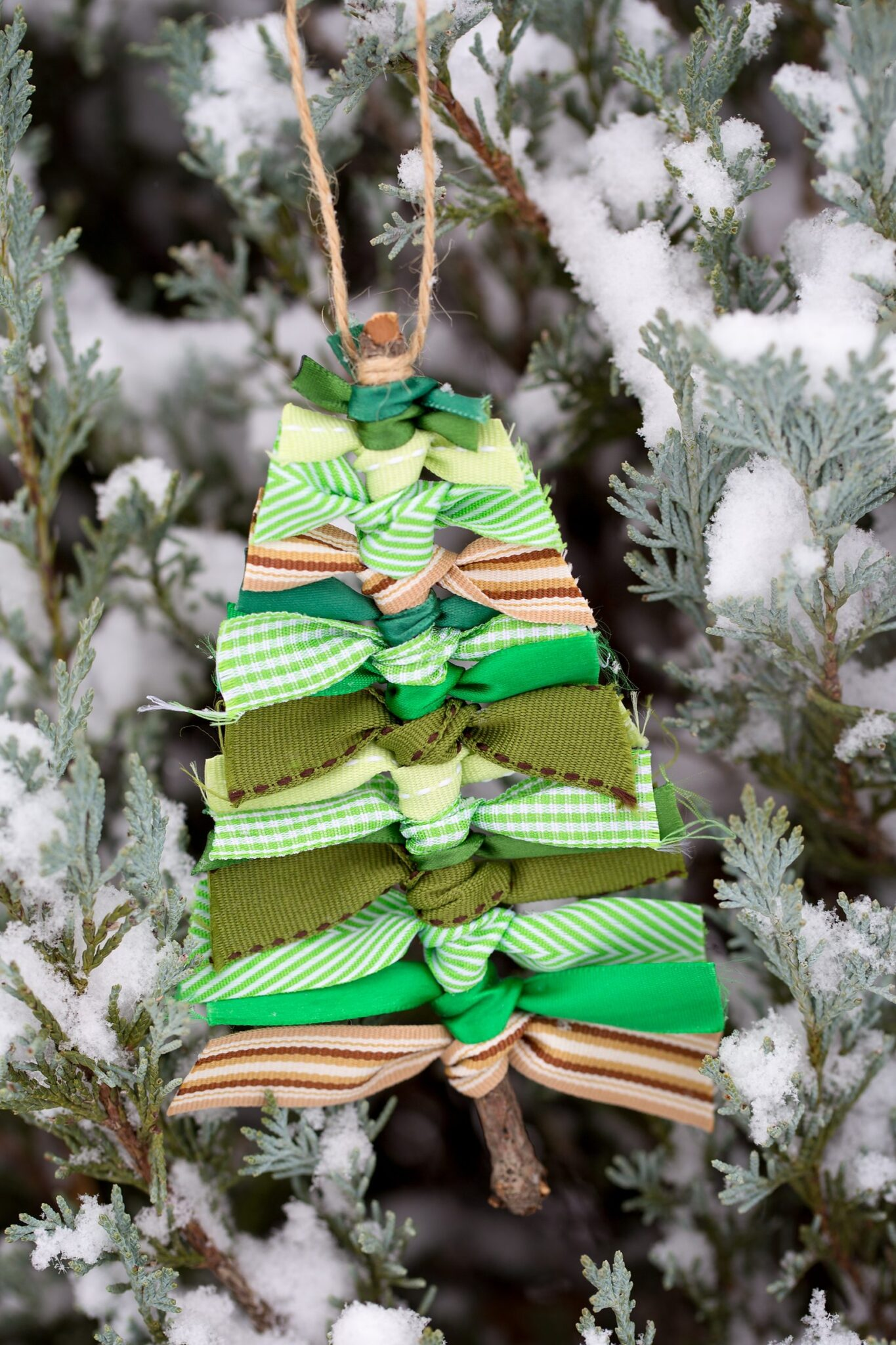scrap ribbon christmas tree ornament hanging on a tree