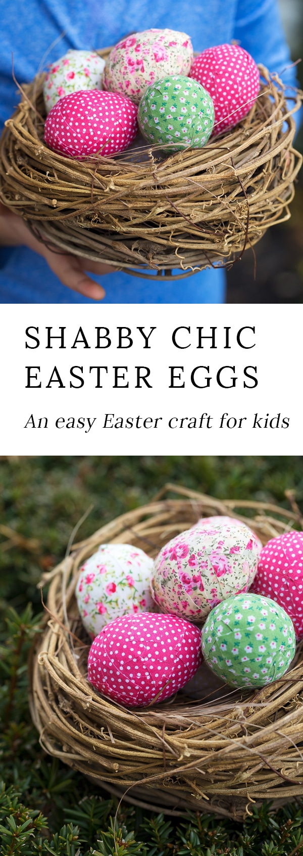 Shabby chic Easter eggslook beautiful nestled into a bowl or hanging from a primitive Easter egg tree. An easy Easter craft for kids!