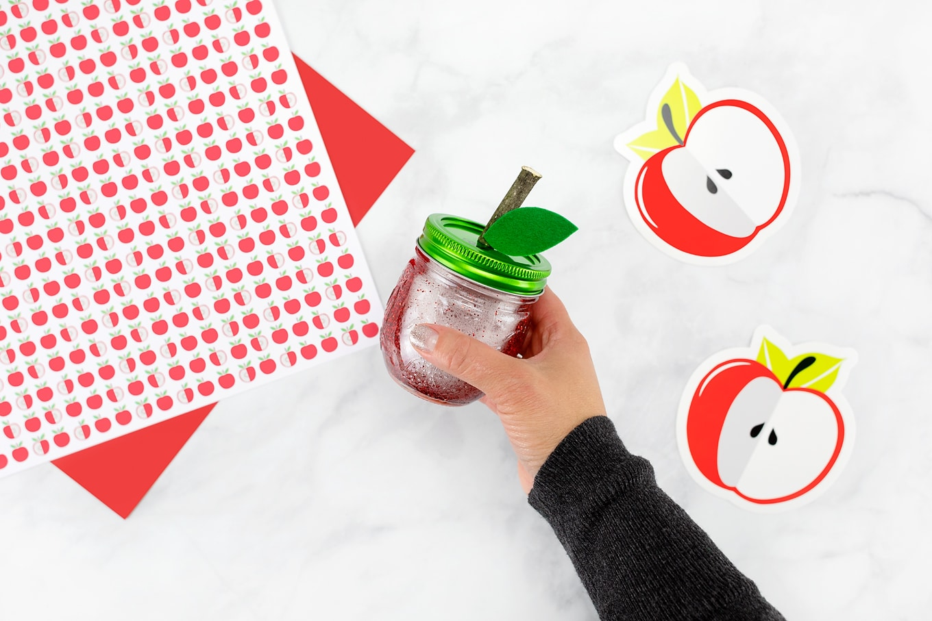 Shaking the Apple Glitter Jar