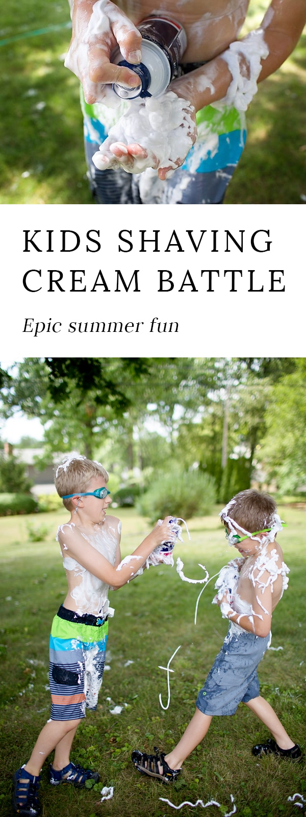 Make this summer unforgettable! Enjoying a Shaving Cream Battle is the perfect way to connect as a family, share laughter, and enjoy a beautiful summer day.