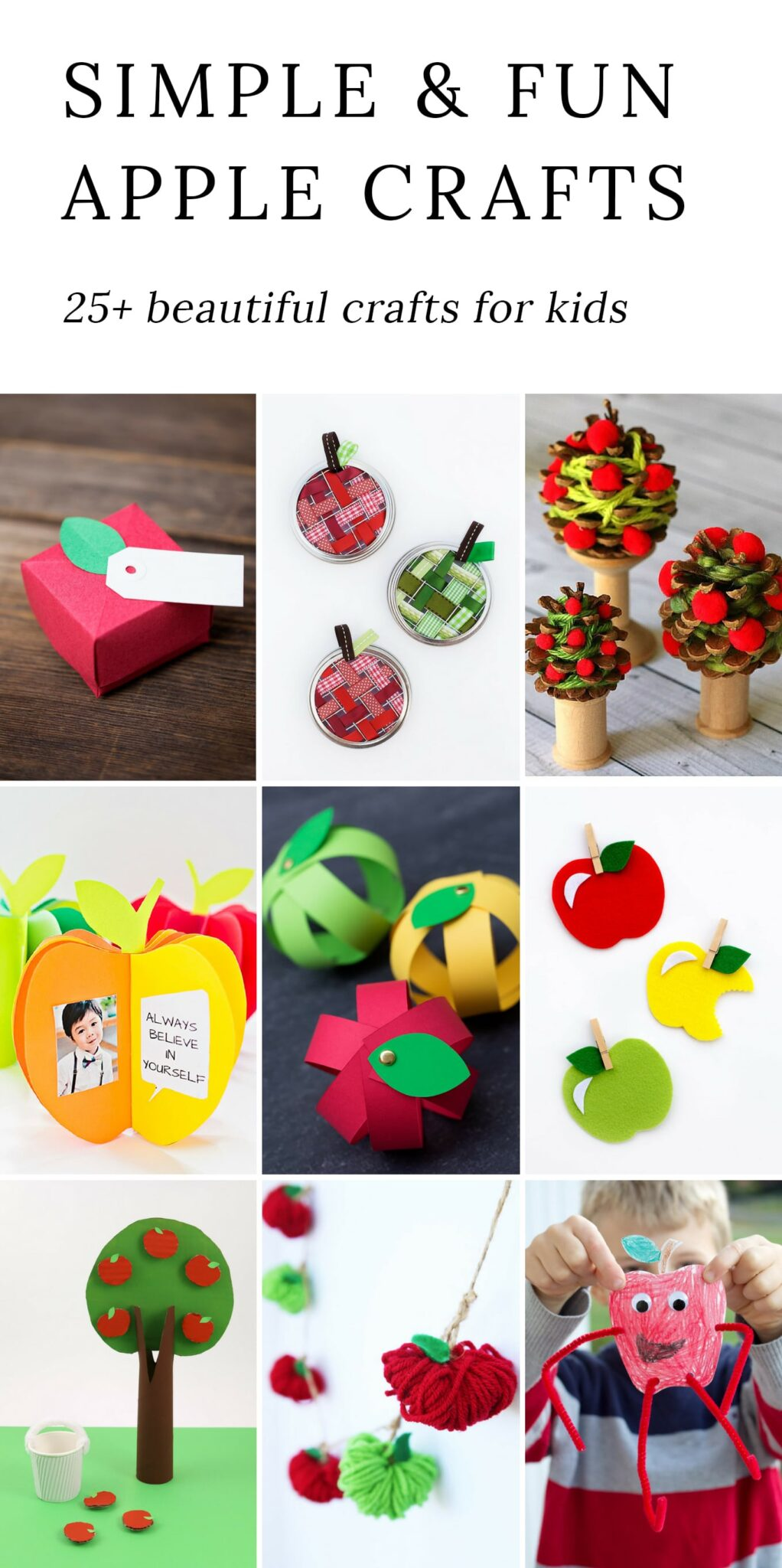 From paper to pine cones to mason jar rings, these creative apple crafts for kids are easy and fun for home, school, or camp.
