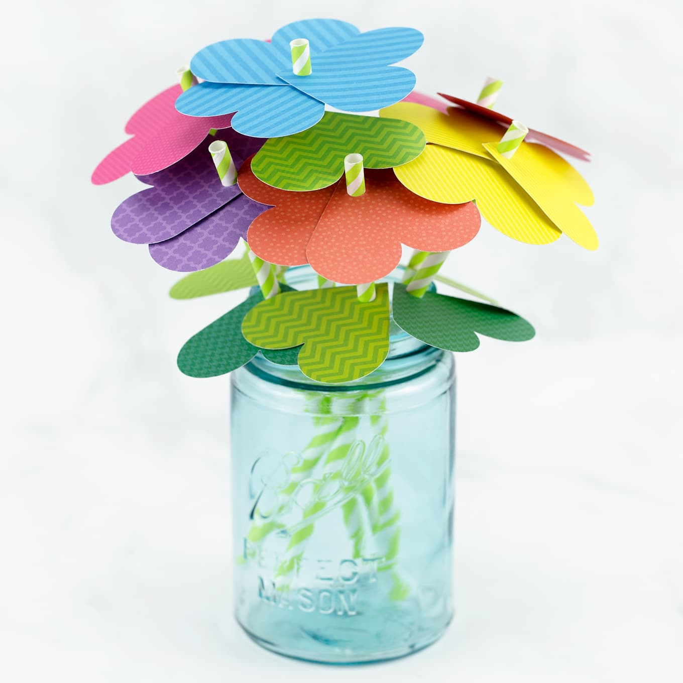 Paper Heart Flowers in a Vintage Mason Jar