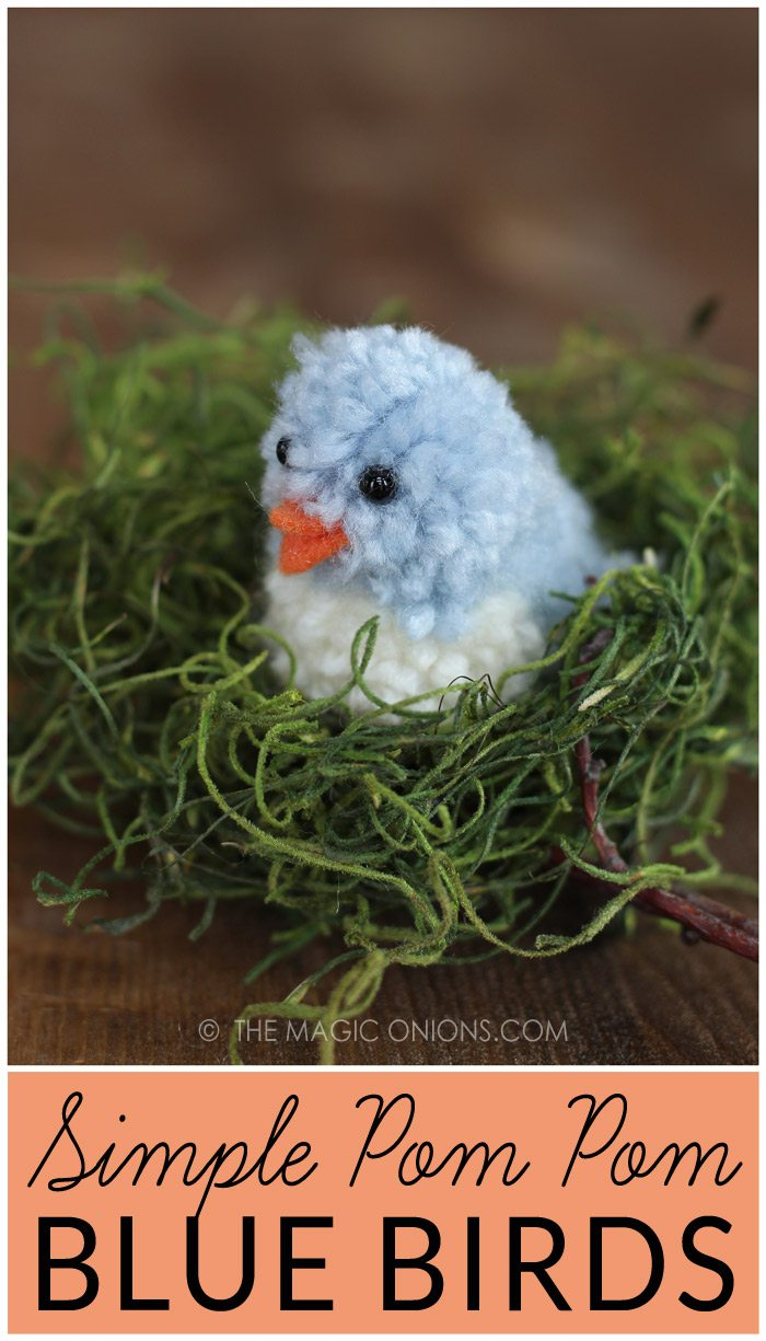 Simple Pom Pom Blue Birds – Learn how to make pom pom pets for Easter. This adorable blue bird tutorial is available at TheMagicOnions.com