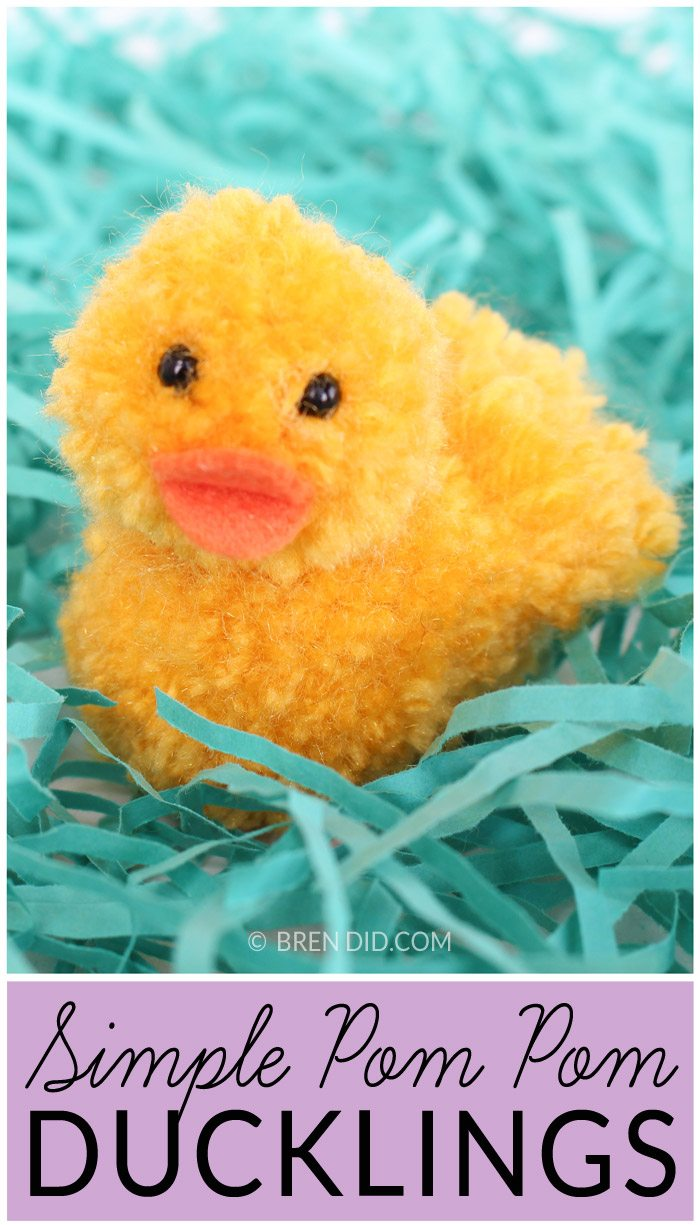 Simple Pom Pom Ducklings – Learn how to make pom pom pets for Easter. This adorable ducklings tutorial is available at BrenDid.com