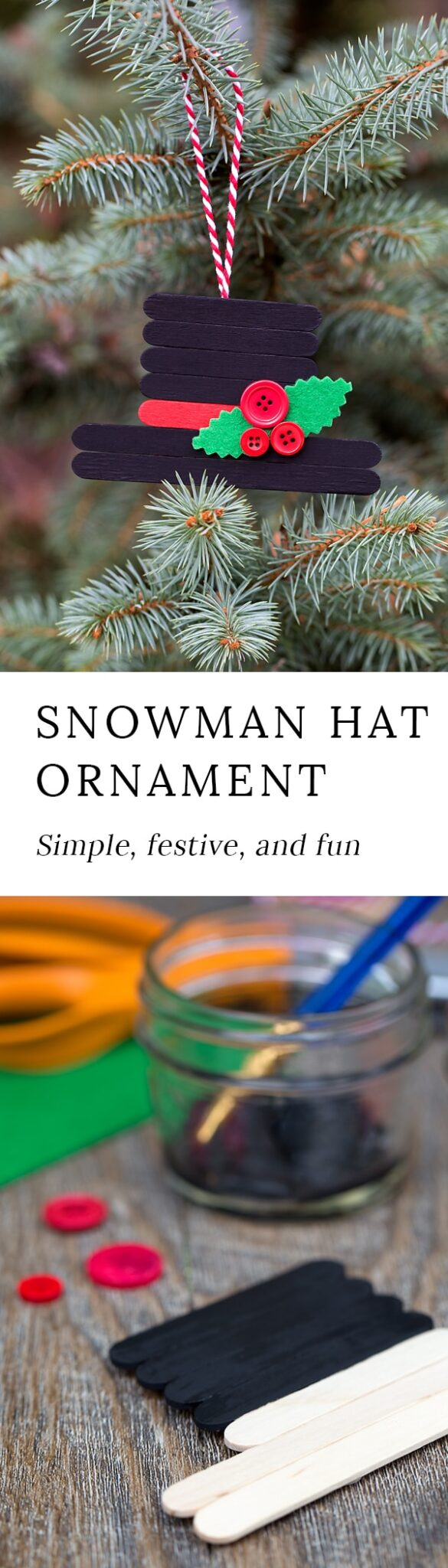 'Tis the season for fun, festive Christmas ornaments! This creative Snowman Hat Ornament is a cute Christmas craft for crafters of all ages.