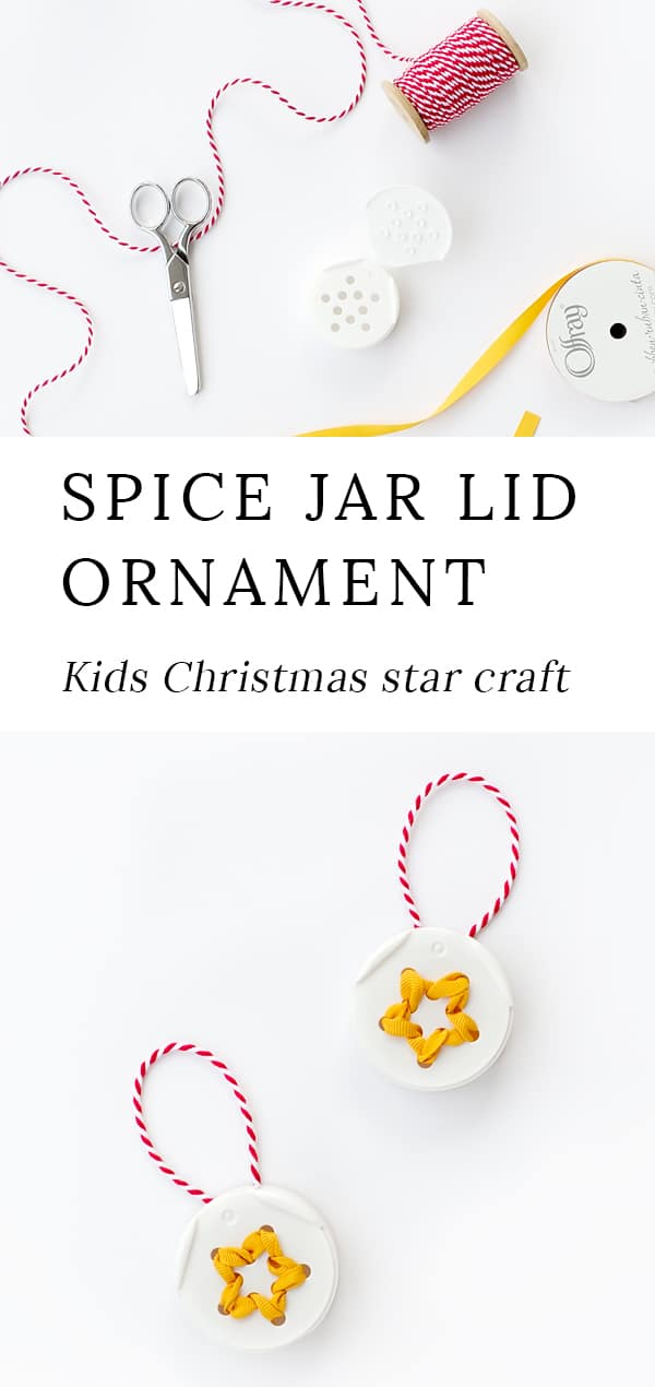 Learn how to create a beautiful ribbon star ornament for the Christmas tree with a spice jar lid! This upcycled Christmas craft is perfect for kids of all ages. #ornaments #christmas #kids via @firefliesandmudpies