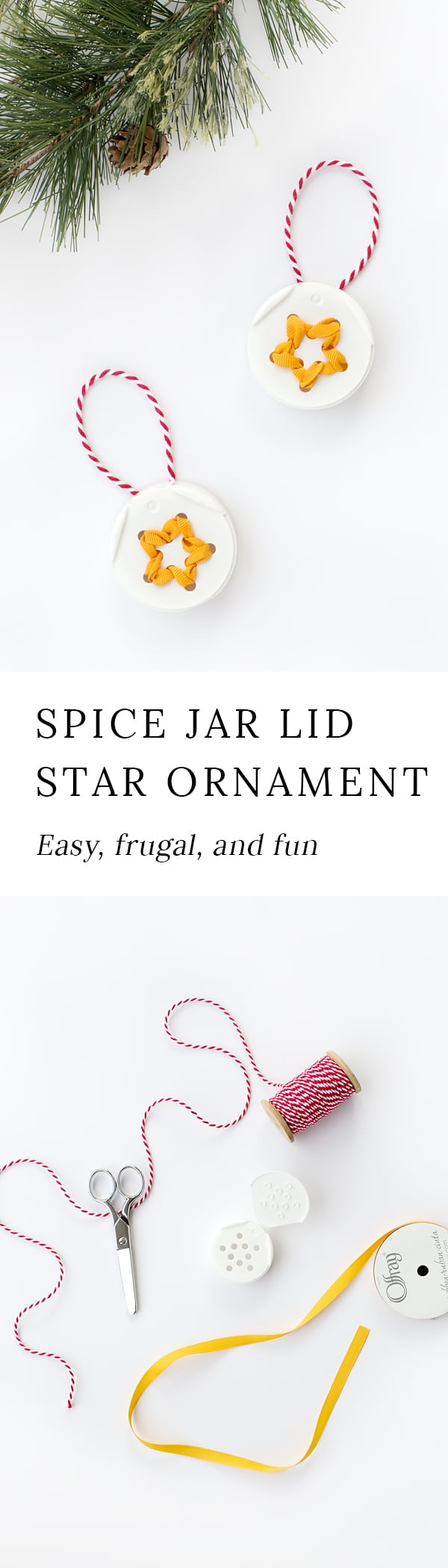 Turn trash into treasure! Kids of all ages will love creating unique Spice Jar Lid Star Ornaments from the lids of spice jars. It's perfect for Christmas!