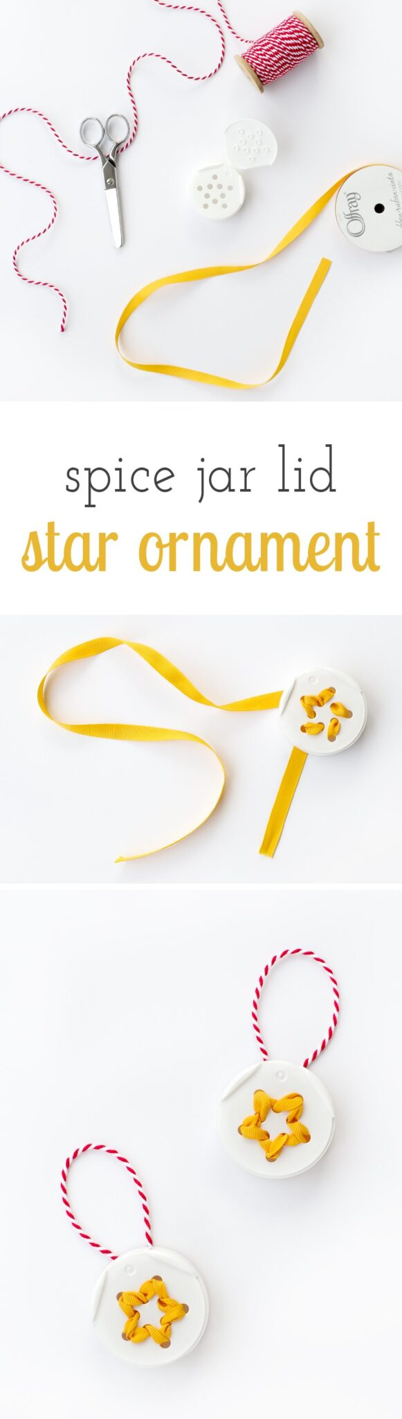 Turn trash into treasure! Kids of all ages will love creating unique Spice Jar Lid Star Ornaments from the lids of spice jars.