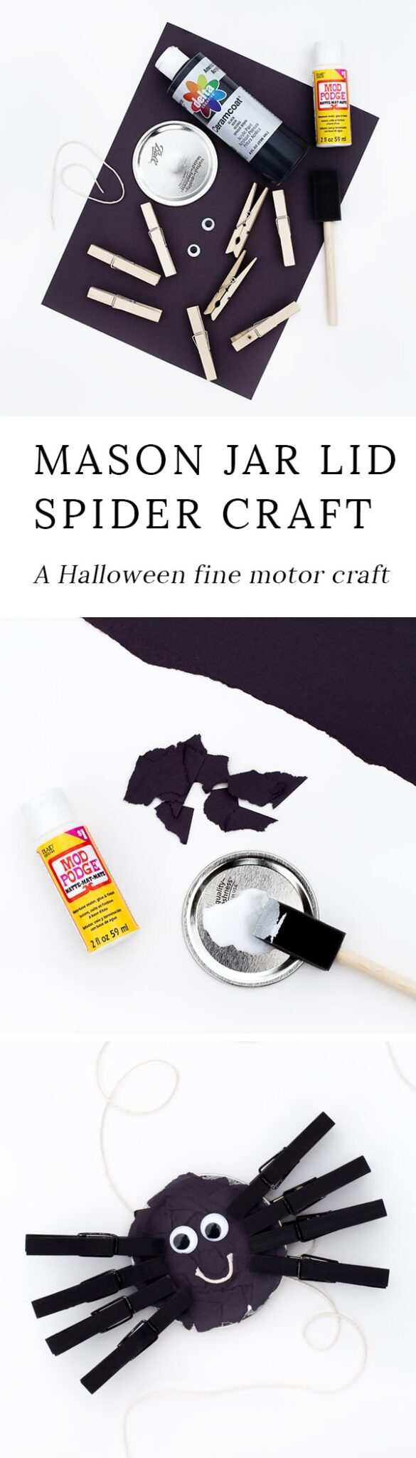 This adorable fine motor spider craft is created with torn paper, mason jar lids, and clothespins. It's the perfect family-friendly Halloween craft for kids!