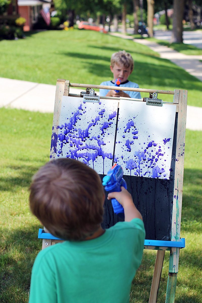 Thrill Your Kids with Colorful Squirt Gun Painting
