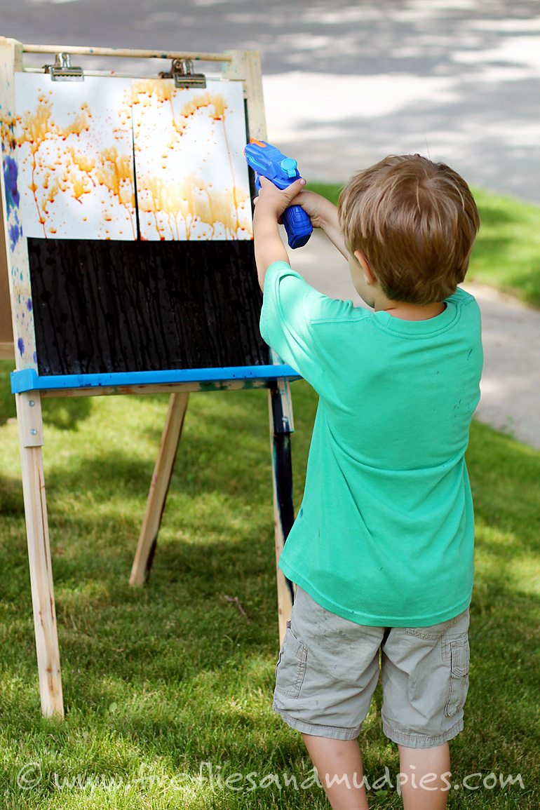 Squirt Gun Painting in Summer | Fireflies and Mud Pies