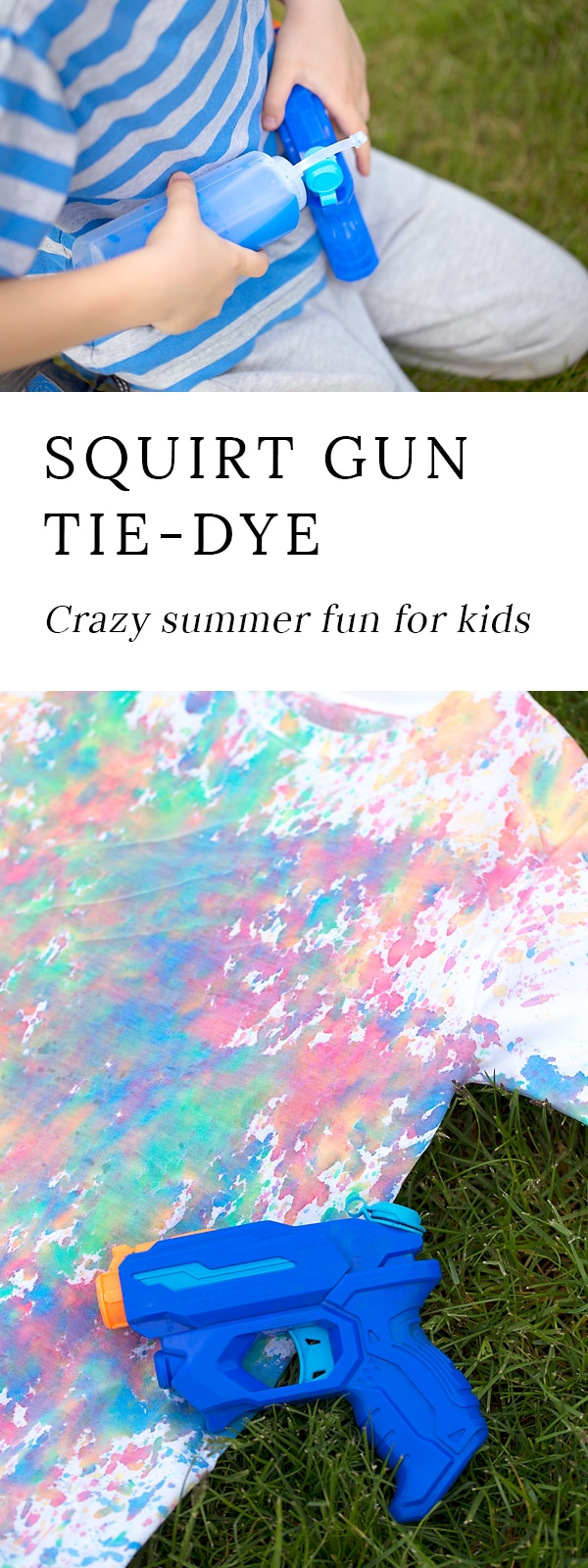 Get ready for some crazy summer fun! Kids of all ages will enjoy using squirt guns to create bold, tie-dyed t-shirts.