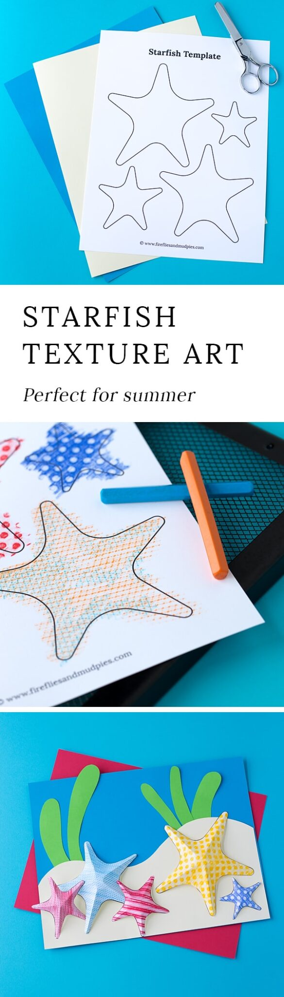 Summer is the perfect season for creating Starfish Texture Art with kids. This easy craft contains a free template, making it perfect for home or school.