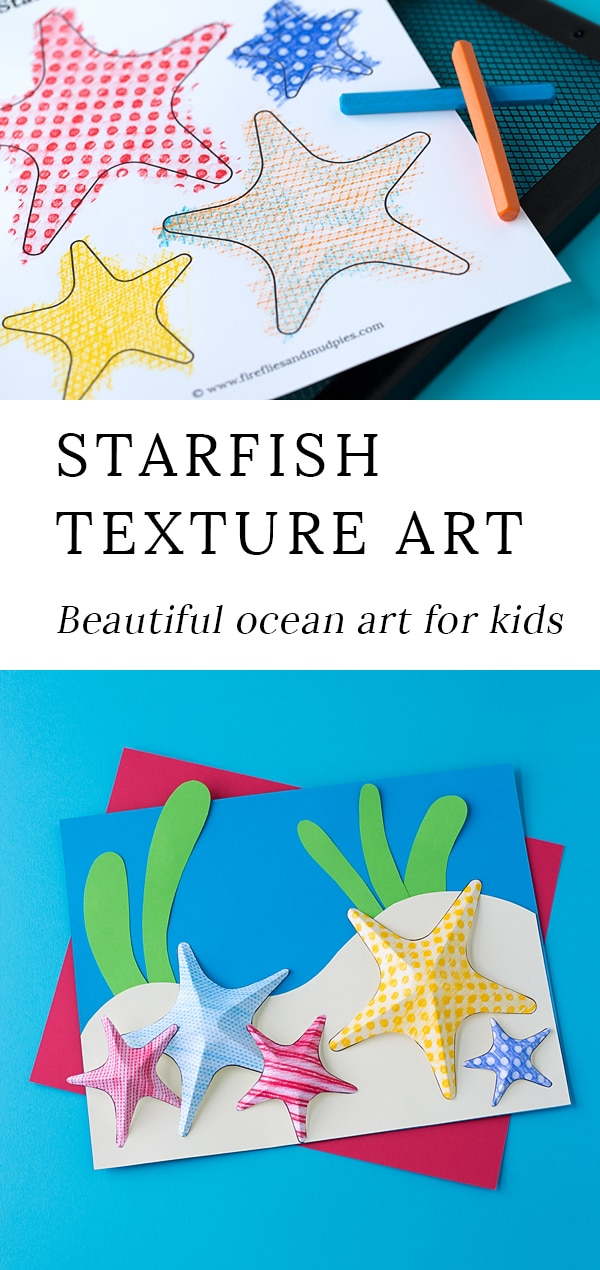 Summer is the perfect season for creating Starfish Texture Art with kids. This easy craft contains a free template, making it perfect for home or school. #starfishtextureart #summerart #starfishcraft #oceancraft #preschoolcrafts