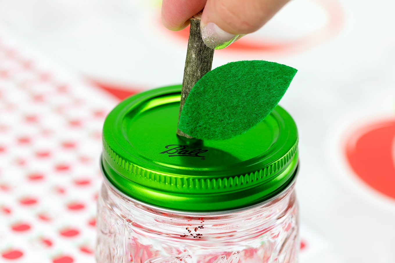 Stem on Apple Glitter Jar