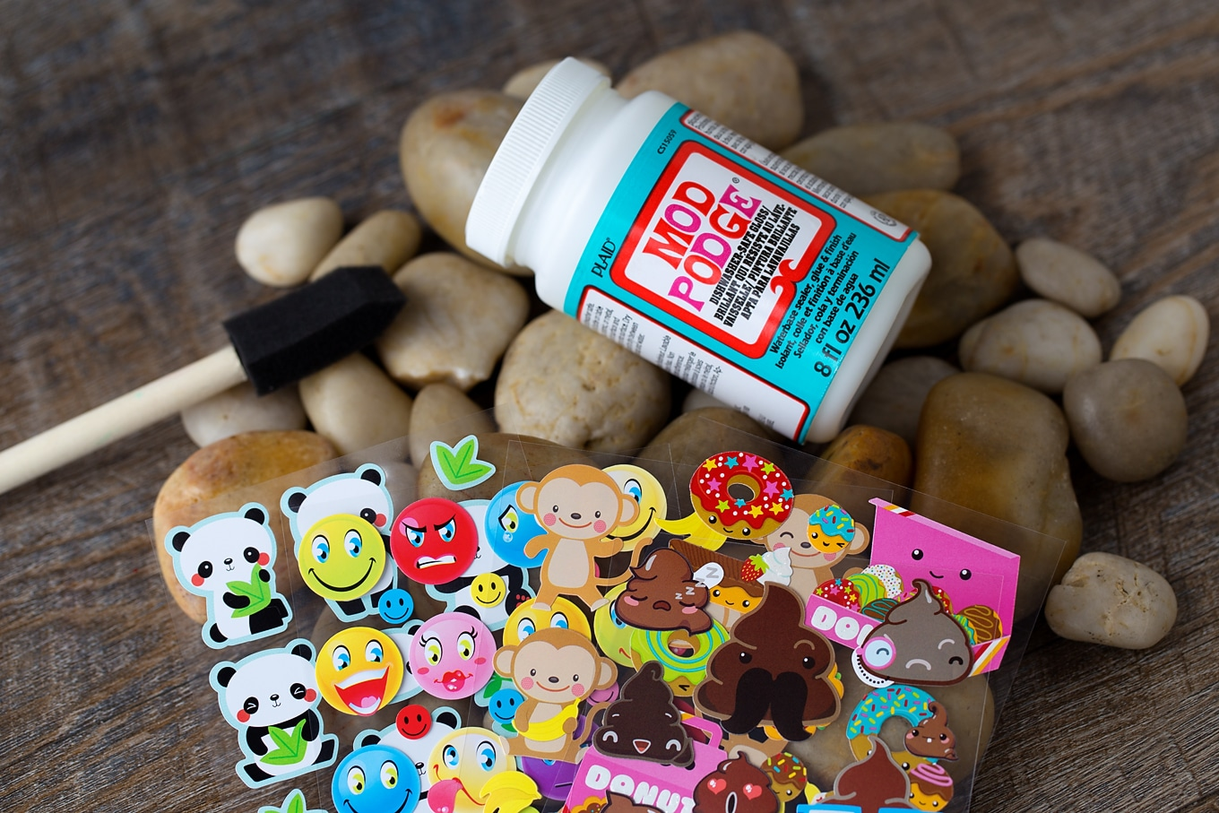 Supplies Needed for Sticker Rocks