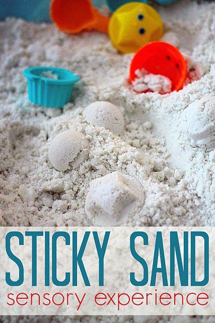 Sticky Sand Sensory Bin | Fireflies and Mud Pies