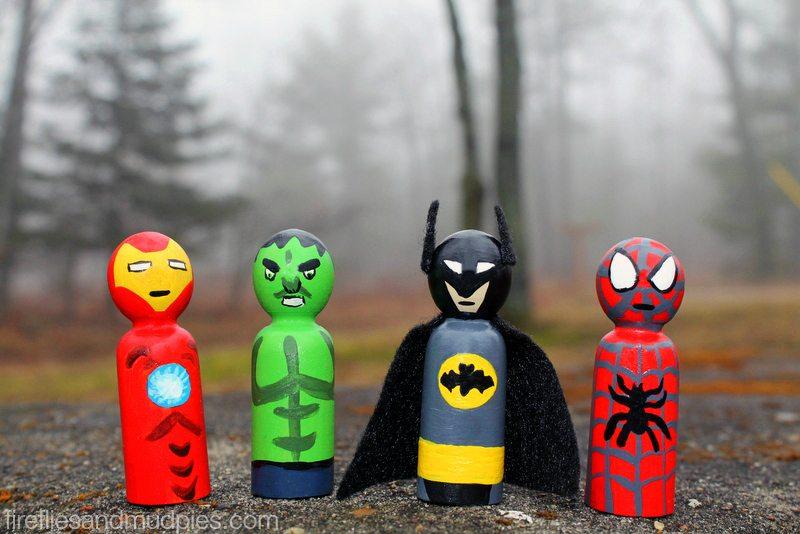 Superhero Peg People